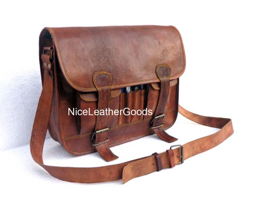 Steampunk Leather Messenger Bag Genuine Leather Handmade